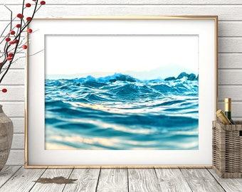 Ocean Art Print, Modern Minimalist, Waves, Beach Coastal Wall Decor, Turquoise Blue Ocean Water, Digital Download, Large Printable Poster
