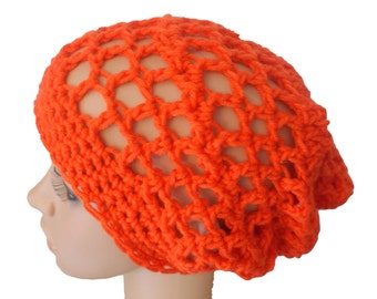 Orange Slouch Hat, Gaming Hat, Teen Slouch Cap, Summer Cap, Skaters Cap, Mens Slouch Hat, Orange Mesh Hat, Dread Locks Cap