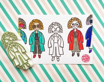 street fashion rubber stamp | people stamp | fashionista stamp | girl in coat | gift for planners | style no17 | hand carved by talktothesun