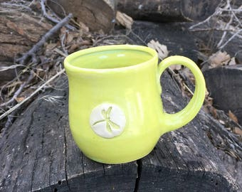 Chartreuse Dragonfly Tea Cup, Small Mug, Pottery Handmade by Daisy Friesen