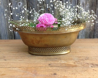 Antique French Decoration, Opened Brass Plant Pot, Oval Shaped Planter, Circa 1930, Gift for Her.
