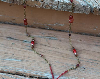 30in. Long Necklace with Red Tiger Eye Pendant
