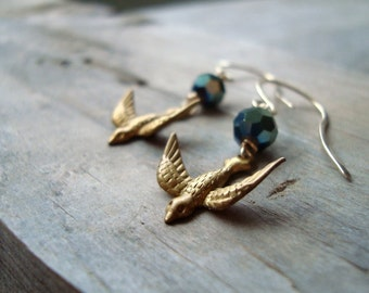 Brass Bird Earrings Green Crystal Gold Holiday Jewelry Holiday Accessories Vintage Style Bird Jewelry Nature Inspired Gifts Under 30