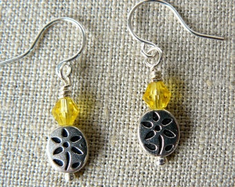 Tiny Flower Earrings, Small Yellow and Silver Dangles, Bright Yellow Crystal Beads, Delicate Floral Jewelry, Gift for Her