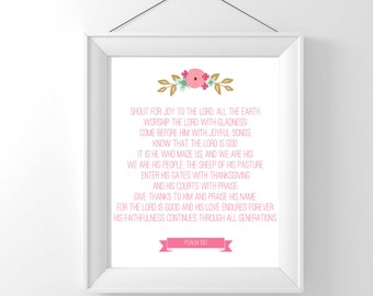 Bible quote printable Psalm 100 Shout for joy to the Lord wall decor poster Digital INSTANT DOWNLOAD