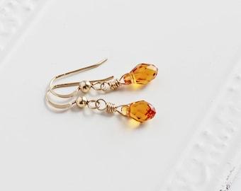 Topaz Yellow Earrings, Tiny Crystal Drop Earrings on 14K Gold Filled Hooks, Dainty Jewelry (Swarovski Elements)