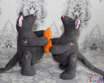 Cute RAT Fabric Art Doll Mouse Soft Sculpture Felted Animal