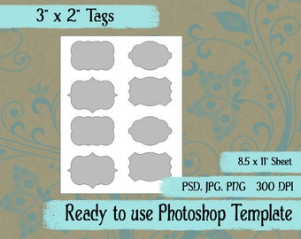 "Scrapbook Digital Collage Photoshop Template, 3"" x 2"" Tags"