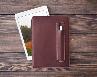 iPad Pro 10.5 inch leather cover with Apple Pencil holder. Free Personalization. Dark brown color.