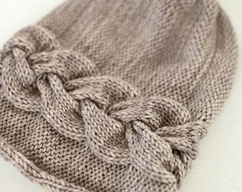 Knitting Pattern - Sideways Braid Cable Beanie - Hat - Instant Digital Download - PDF