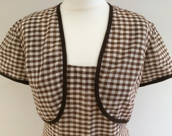 1950s/1960s Brown Gingham Shift Dress and Bolero - Medium Size 10