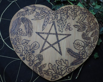 Heart-Shaped Leafy Pentagram Offering Plate - Altar Piece - Altar Board - Pagan, Wicca, Witchcraft, Pentacle