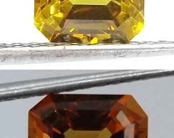 LAB CREATED Diaspore Color change Asscher cut 9x7mm. Loose Nanocrystal Gemstone.