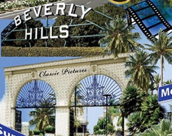 Beverly Hills/LAX Movie Film Reel Cotton Fabric [[by the half yard]]