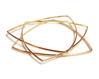 Triangle Bracelets - Soft Triangle Bracelets - Triangle Bangles - Brass Triangle Bracelets - Handmade - Geometric Bangles - Made In Brooklyn