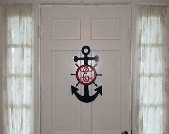 """Nautical Door Hanger with Letter - Painted Wood - 22"""" size - Anchor and Ships Wheel - Wood Letter - Wall Hanging - Monogram"""