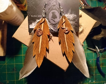 Antiqued leather feather earings.
