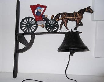 Vintage Cast Iron Dinner/Entryway Bell, On Wall Mount and Decorated with Painted Cast Iron Horse and Carriage