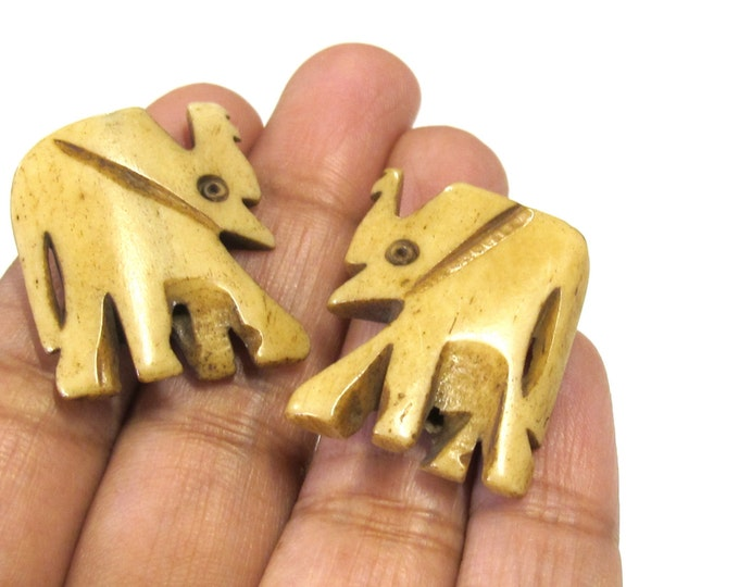 2 pieces - Large size carved elephant design ivory brown color bone beads  - HB006A