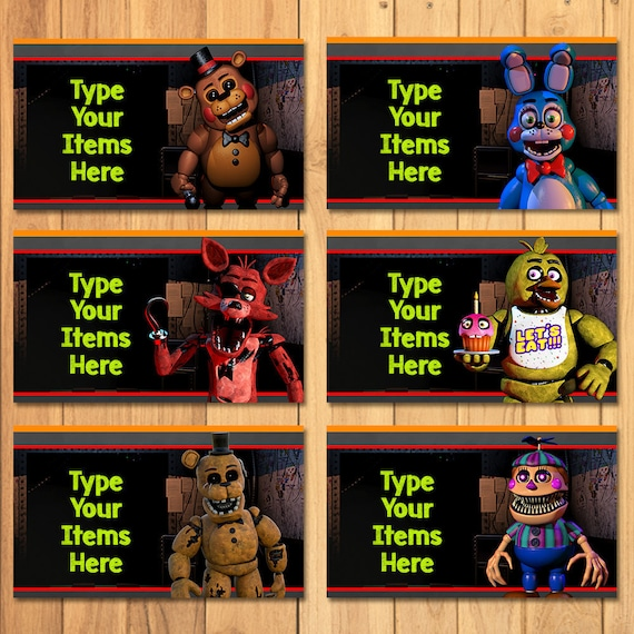 Five Nights at Freddy's Food Tents Chalkboard - FNAF Birthday Party - 5 Nights Freddys Place Cards - 5 Nights Freddy's Video Game Food Label