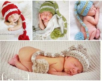 Newborn Hat, Newborn Striped Elf Hat, Baby Striped Elf Hat, Baby Hat, Newborn Stocking Hat, Newborn Long Tail Hat, Newborn Photo Prop
