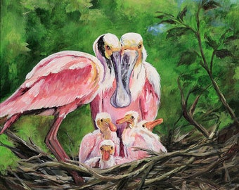 NESTLED SPOONBILLS  Original Painting by Paige DeBell  4 chicks in a nest