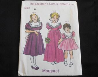 Children's Corner pattern Margaret sz 1 - 2 Sewing Pattern Girl Classic Dressy Dress Mid Yoke Scalloped Collar Variations 1985 Lightly Used