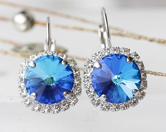 SAPPHIRE EARRINGS, Royal Blue Earrings, Wedding jewelry, Rhinestone Earrings, Bridal Shower Gift, Swarovski Dangle Earring,September earring
