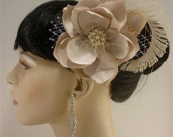 "1920s Headpiece, Handmade Champagne or Ivory Bridal Flower Fascinator 4.5"" flower, Bridal Headpiece, Bridal Fascinator, Flower Hair Clip"