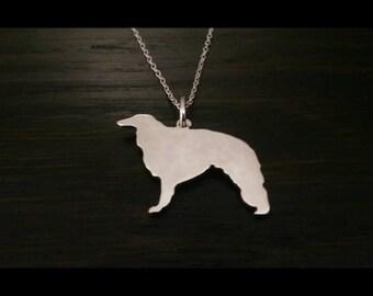 Borzoi ( Russian Wolfhound) sterling silver pendant