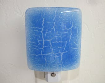 Fused Glass Night Light, Blue Crackle Glass