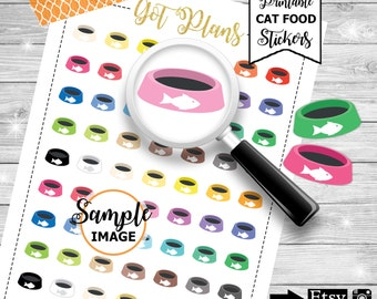 Cat Food Bowl Stickers, Planner Stickers, Printable Stickers, Cat Food Stickers, Stickers for Planners, Cat Bowl Stickers for Planners