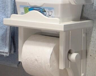 White Toilet Paper Holder with Shelf