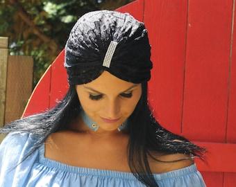 Ladies Turban, Black lace, Lace Turban, Turban Headband, Turban Headband, Night Out Turban, Beach Turban Hat, Black Turban, Turban Hat