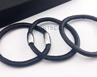 1pc  8.5inch length VERY SOFT PU simple black  Boho Leather Wrap Bracelet - charm bracelet Wrap Bracelet Leather Wrap AG0018