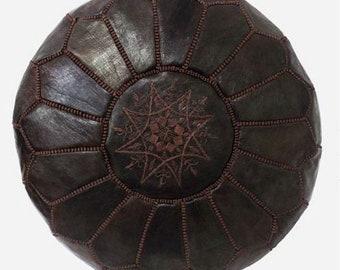 PREMIUM Genuine Leather Moroccan Pouf Pouffe - CACAO