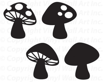 Woodland Mushrooms Set of 4 vinyl decals size SMALL