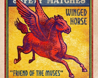 "Pegasus Matchbox Art- 5"" x 7"" matted signed print"