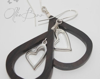 Tiger Ebony wood teardrops with suspended silver  heart, Silver accents and Silver Plated Ear Hooks