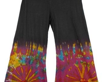 Boho Hippie Tie Dye Wide-Leg Long Gaucho Pant