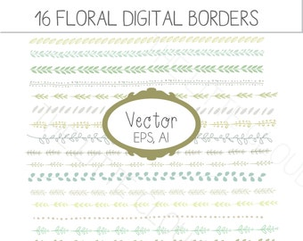 VECTOR  Floral Borders clip art, foliage clipart borders