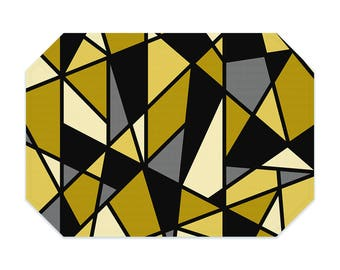 Mustard yellow placemat, geometric placemat, printed cloth placemat, black, gray, fabric placemat, table linens, table setting, modern decor