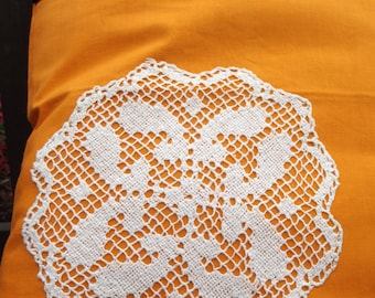 Vintage Lace covered Tote Bag - useful reusable shopping bag - Betty - Orange and white Mandala Circle
