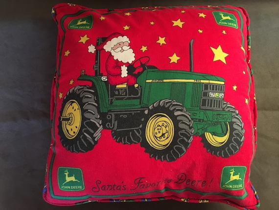 Vintage John Deere Santa Pillow Christmas Santas Favorite Tractor Red Yellow Green Xmas Holiday Decor