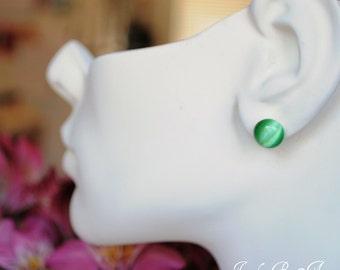 Green Catseye Stud Earrings