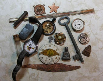Vintage TRINKET LOT-  Mickey Mouse Watch- Optical Lens- Key- Copper- Assemblage Lot Jewelry- Findings- Found Object Lot