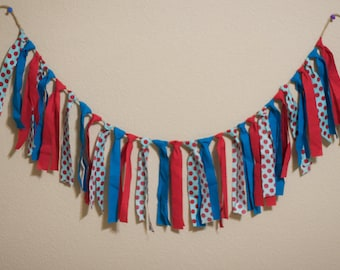 Dr. Seuss Party Decor Garland Red Aqua Photo Prop Dr. Suess Birthday Banner All The Places  (custom orders welcomed)