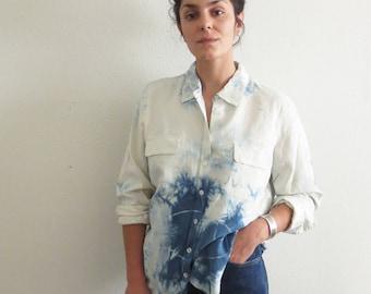 Indigo Dyed Shibori Cream Silk Oxford Shirt