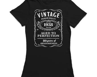 Vintage Premium Quality  80 Years Of Awesomeness Women's Black T-shirt