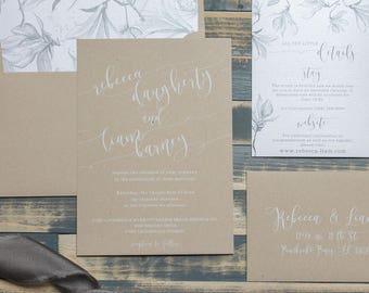 Elegant Lace Wedding Invitations, Rustic Kraft Invitations, Country Wedding Invitation, Winter Wedding, Boho Invitations  | Rebecca & Liam
